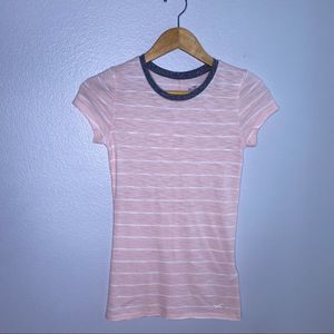 Hollister Pink/White Stripe Must Have Tee XS